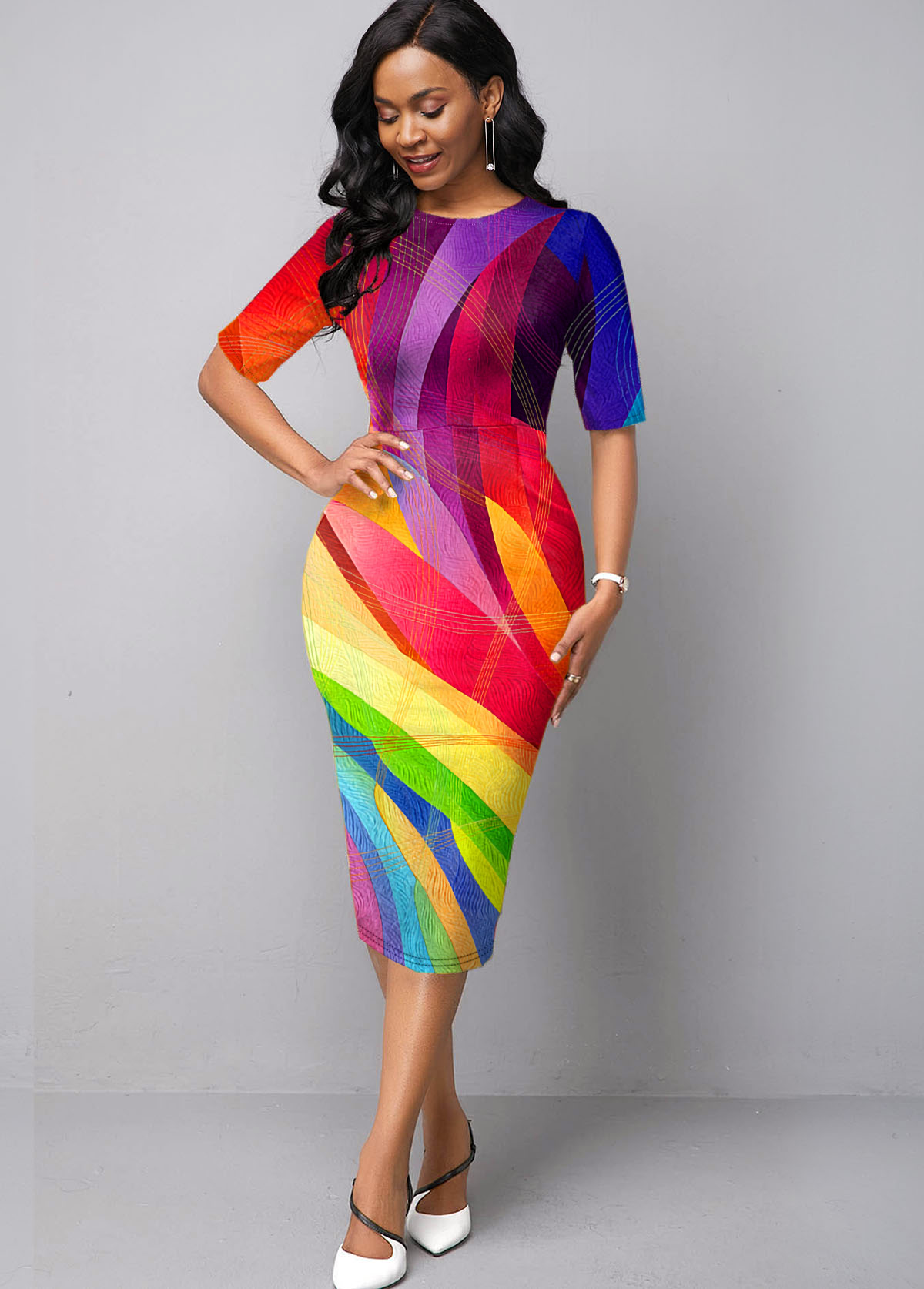 Geometric Print Printed Multi Color Dress