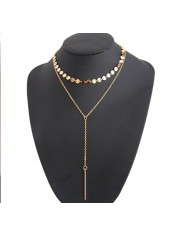 Simple Geometric Metal Necklace For Lady