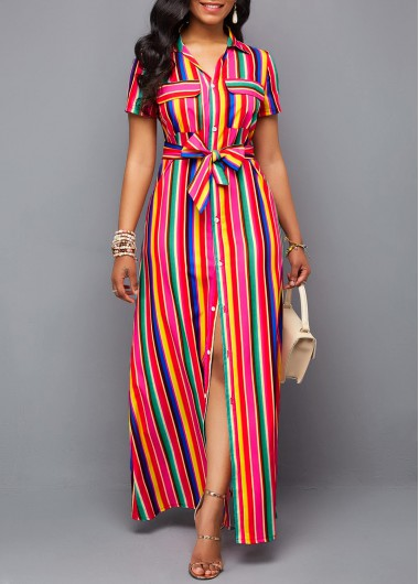 Turndown Collar Button Up Belted Rainbow Color Dress - L