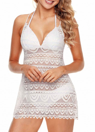 Scalloped Hem Tie Back Lace Swimdress and Panty - XXL