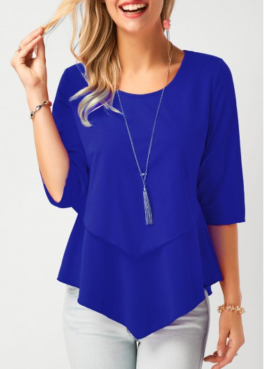 Casual 1/2 Sleeve Royal Blue Chiffon Blouse - L