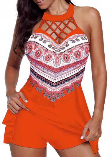 Red Swimsuit Cage Neck Orange Red Swimdress and Shorts - L