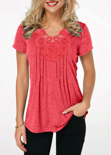 Women's Casual Tunic Top Crinkle Chest Short Sleeve Coral Red T Shirt - L