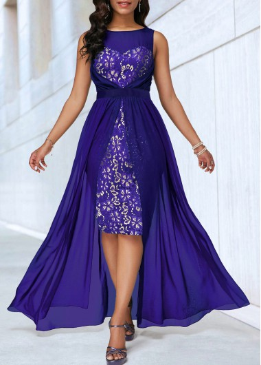 High Waist Sleeveless Dip Hem Lace Patchwork Dress - M