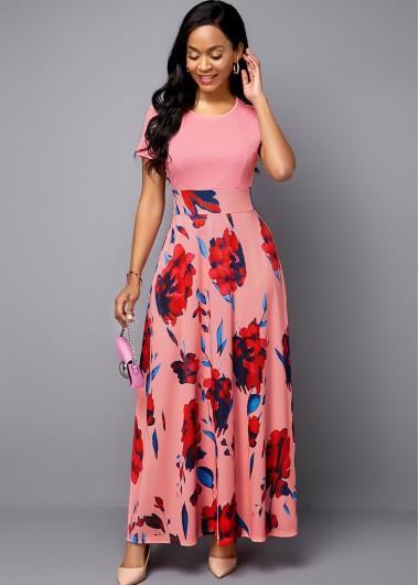Flower Print Short Sleeve Pink Dress - 10