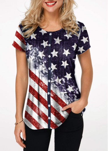 Button Up American Flag Print Crinkle Chest T Shirt - L