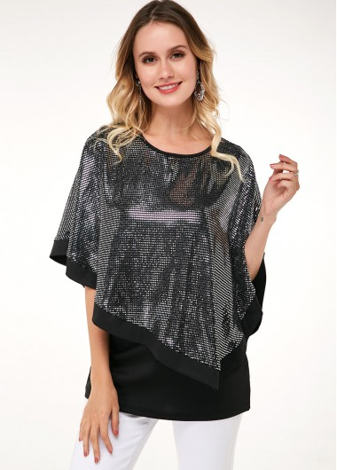 Sequin Cape T Shirt And Black 3/4 Sleeve Tank Top - 10