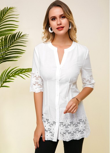 White Lace Panel Half Sleeve Blouse - L
