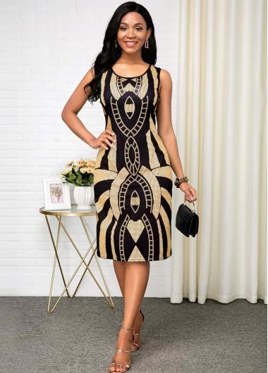 Tribal Print Sleeveless Black Round Neck Dress - 10