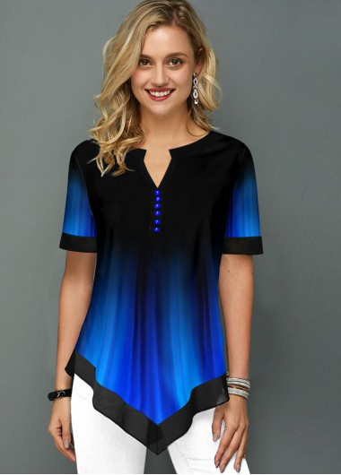 Printed Split Neck Short Sleeve Blouse - 12