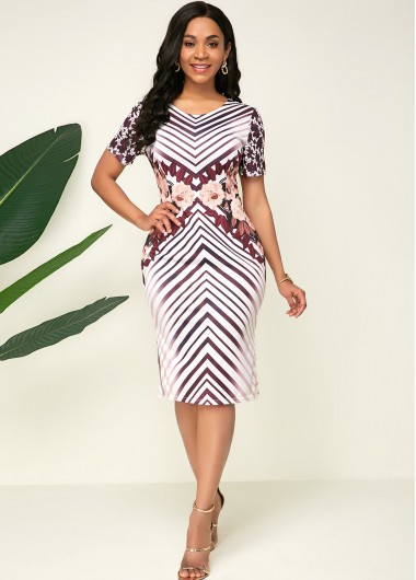 Striped Short Sleeve Side Slit Dress - 10