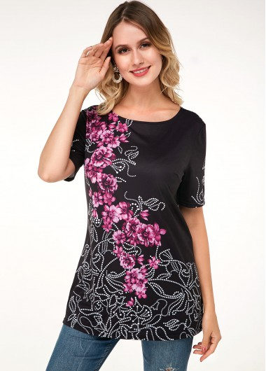 Floral Print Short Sleeve Round Neck T Shirt - L