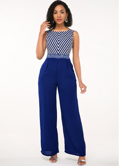 Printed Blue Sleeveless Open Back Jumpsuit - L