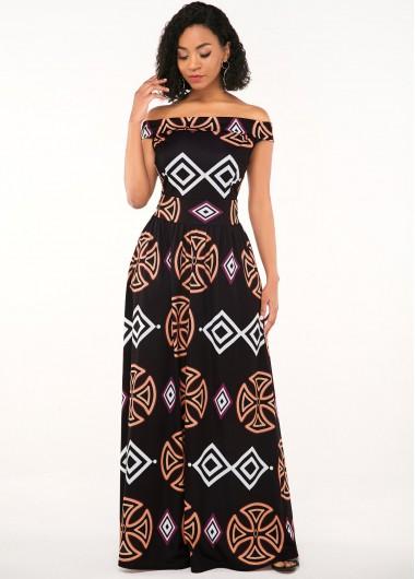 African Print Off the Shoulder Zipper Closure Dress - S