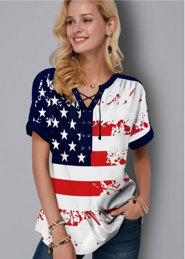 Flag Print Lace Up Short Sleeve Blouse - 10