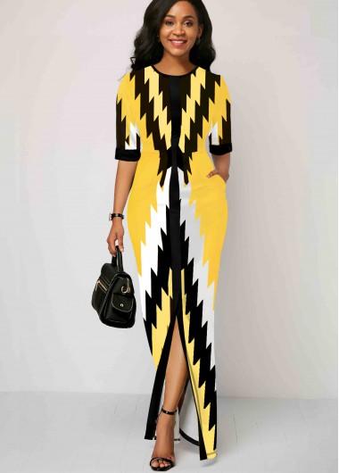 Geometric Print Half Sleeve Maxi Dress - 10