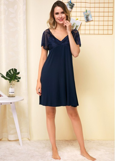 Lace Panel Short Sleeve Navy Blue V Neck Nightgown - L