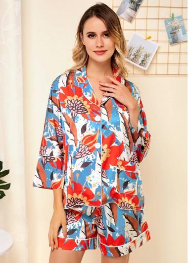 Floral Print Button Up Pocket Pajama Set - 10