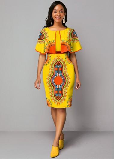 Cape Sleeve Printed Zipper Closure Dress - 10