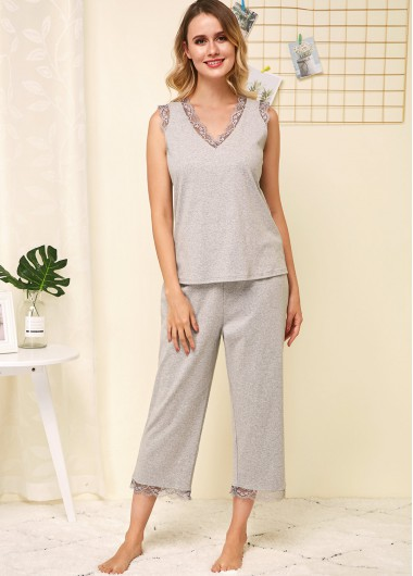 Sexy Babydoll Lingerie Chemises Lace Panel Sleeveless Grey Lounge Top and Pants - 16