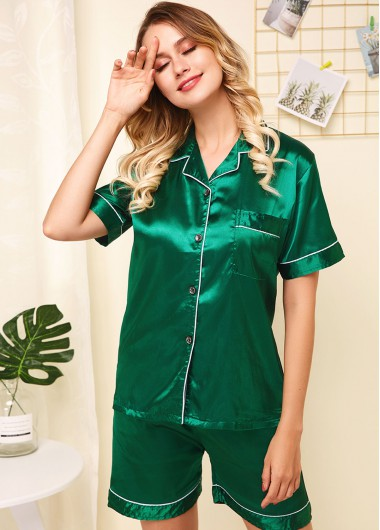 Green Short Sleeve Button Up Pajama Set - L