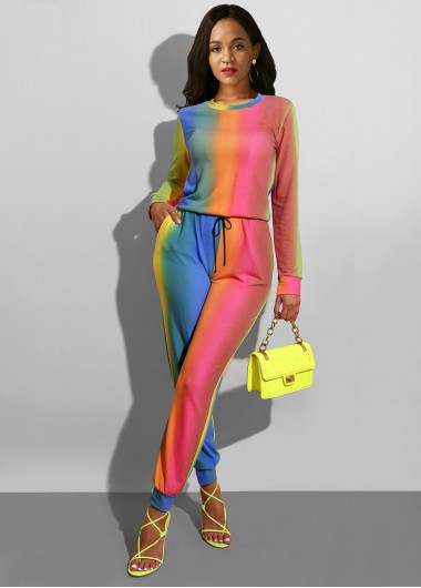 Sun Protection Multi Color Long Sleeve Jumpsuit - 10