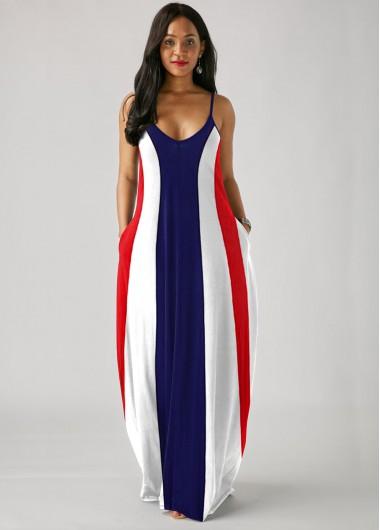 Color Block Printed Spaghetti Strap Maxi Dress - 10