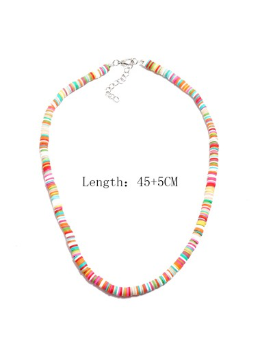 Tribal Design Multi Color Necklace - One Size