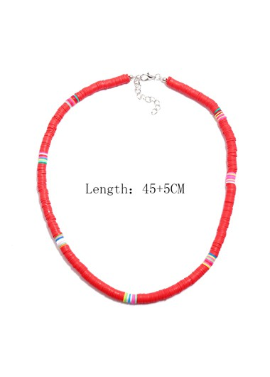 1pc Ethnic Style Red Necklace for Lady - One Size
