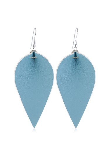 Blue Leaf Shaped Earring Set for Women - One Size