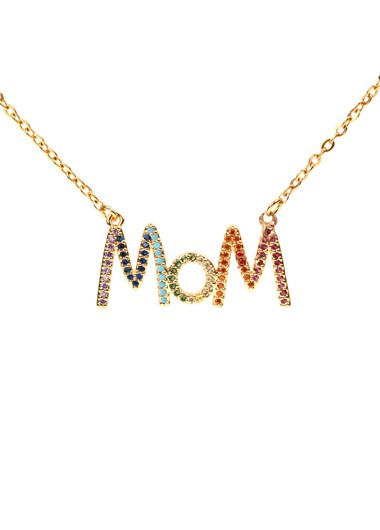 Letter Shape Rhinestone Detail Gold Brown Necklace - One Size