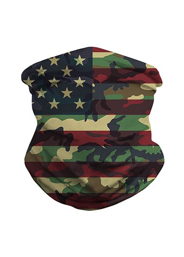 Army Green American Flag Print Neck Tube Bandanas - One Size