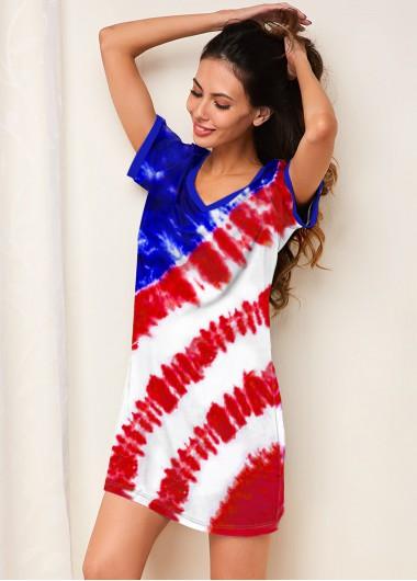 Sexy Babydoll Lingerie Chemises American Flag Print Short Sleeve Multi Color Nightdress - 10