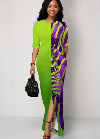 Zebra Print Color Block Split Front Maxi Dress - 10