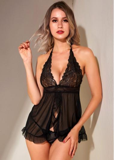 Black Lace Panel Halter Pajama Set - 5XL