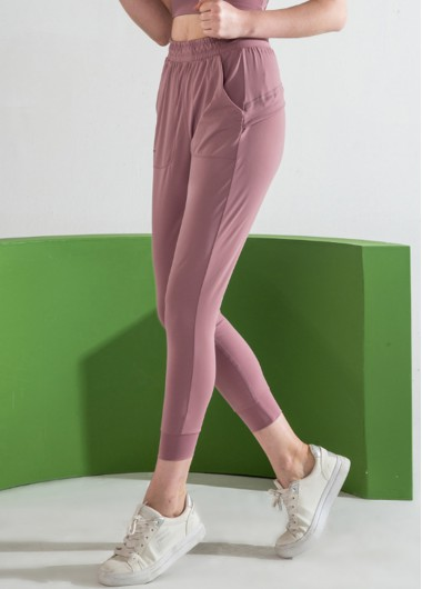 Shirred Waist Light Purple Sports Pants - L