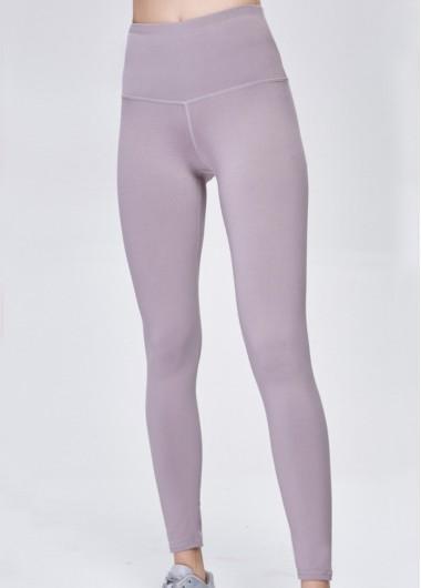 Wide Band Waist Light Purple Yoga Pants - S