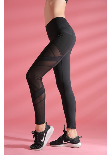 High Waist Black Elastic Quick Drying Yoga Leggings With Pockets - L