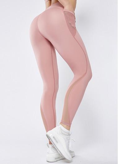 Mesh Panel Pink High Waist Elastic Yoga Leggings With Pockets - L