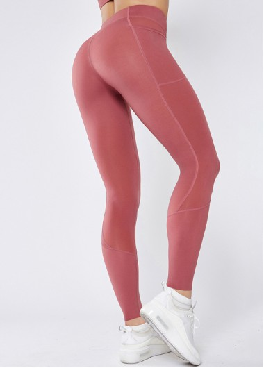 Pink Wide Band Waist Yoga Leggings With Pockets - L