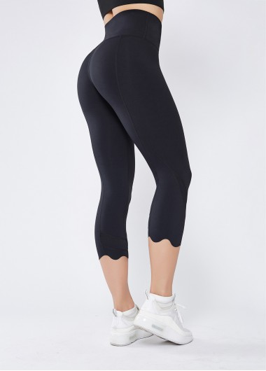Black Stretch High Waist Quick-drying Breathable Yoga Pants - L