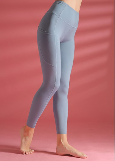 Dusty Blue Wide Band Waist Yoga Leggings With Pockets - S
