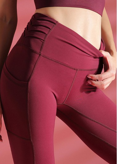 Wine Red Mesh Panel High Waist Yoga Leggings With Pockets - L