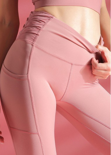 Pink High Waist Ruched Side Yoga Leggings With Pockets - L
