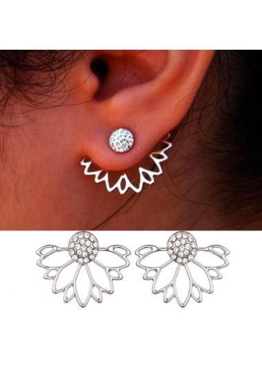 Lotus Shape Rhinestone Earrings for Lady - One Size