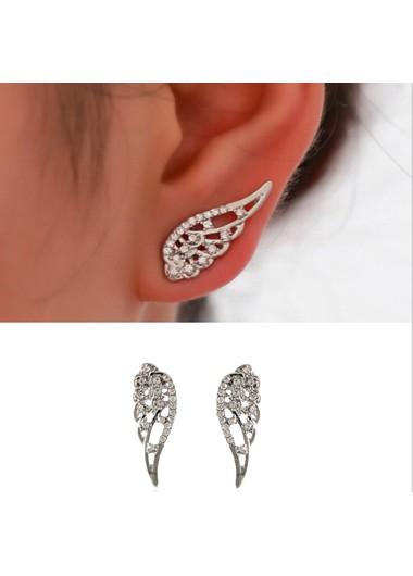 Angle Swings Silver Rhinestone Earrings - One Size