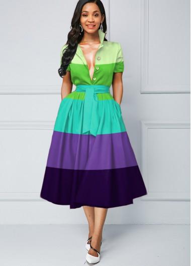 Color Block Stripe Print Button Detail Dress - L