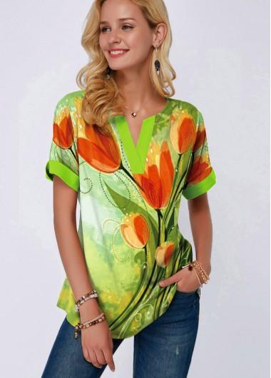 Flower Print Short Sleeve Split Neck Blouse - L