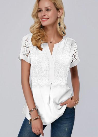 Lace Panel White Short Sleeve Blouse - L