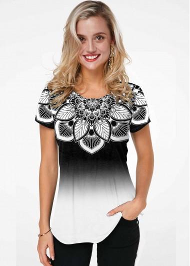 Gradient Flower Print Short Sleeve T Shirt - L